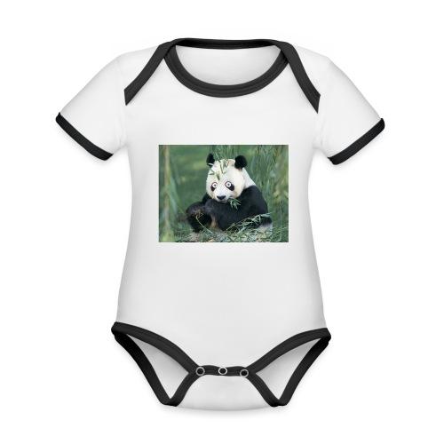 wiiiiiiiiiiiiiiiiie - Baby contrasterend bio-rompertje met korte mouwen