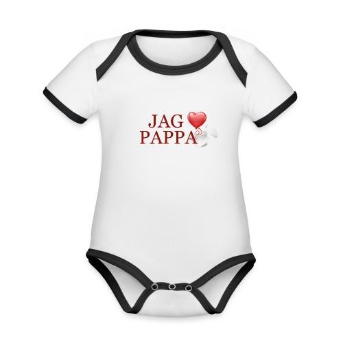 Jag älskar pappa - Ekologisk kontrastfärgad kortärmad babybody