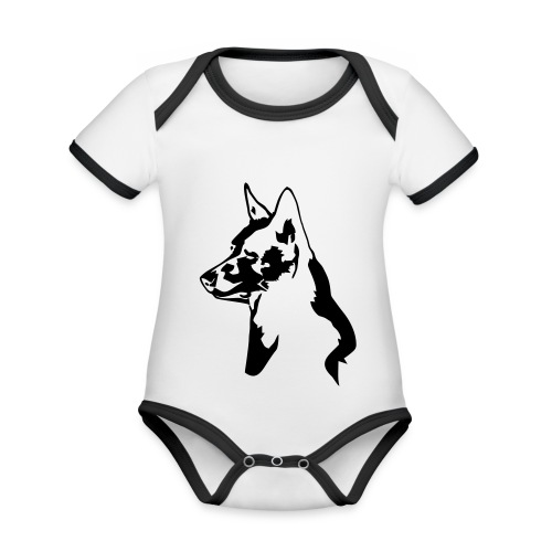 australiankelpie - Vauvan kontrastivärinen, lyhythihainen luomu-body