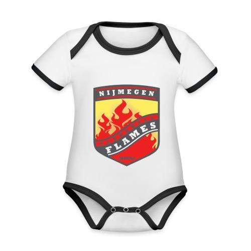 Hoodie Black - Red inner contrast - Baby contrasterend bio-rompertje met korte mouwen