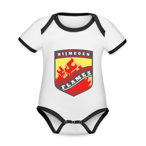 t-shirt kid-size zwart - Baby contrasterend bio-rompertje met korte mouwen