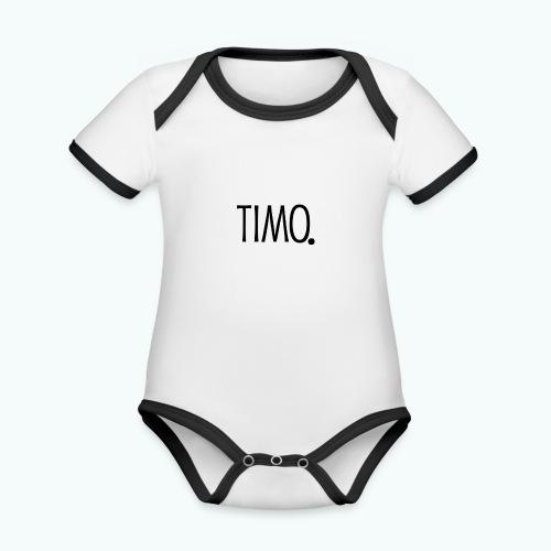 Ontwerp zonder achtergrond - Baby contrasterend bio-rompertje met korte mouwen