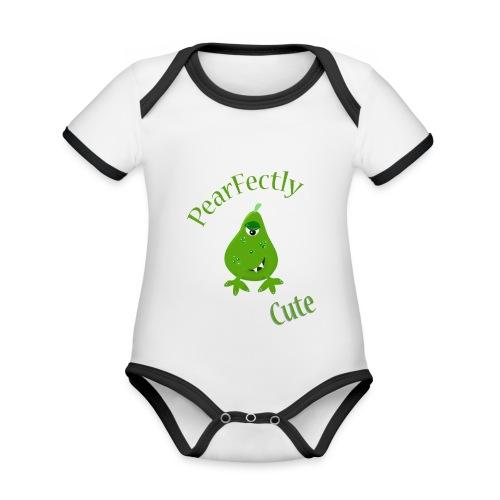 pearfectly cute peer - Baby contrasterend bio-rompertje met korte mouwen