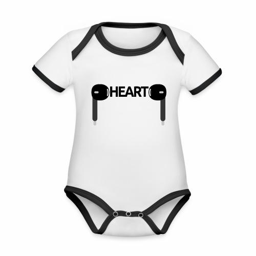 ListenToYourHeart - Ekologiczne body niemowlęce z krótkim rękawem i kontrastowymi lamówkami