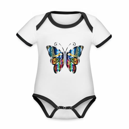 butterfly - Ekologiczne body niemowlęce z krótkim rękawem i kontrastowymi lamówkami