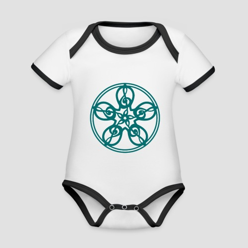 Treble Clef Mandala (teal) - Organic Baby Contrasting Bodysuit