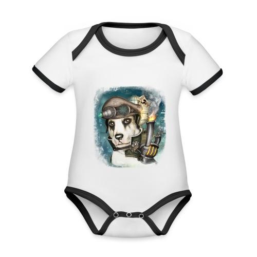 Steampunk Dog #2b - Body da neonato a manica corta, ecologico e in contrasto cromatico