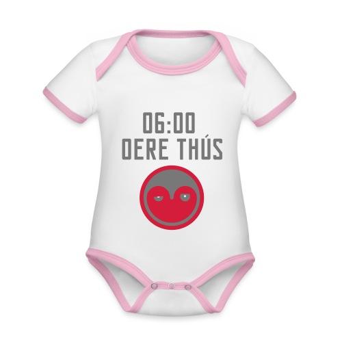 6 oere tus - wit - Baby contrasterend bio-rompertje met korte mouwen