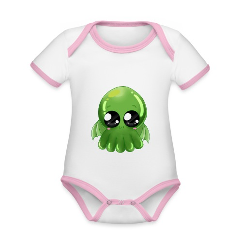 Super süßer Cthulhu - Baby Bio-Kurzarm-Kontrastbody