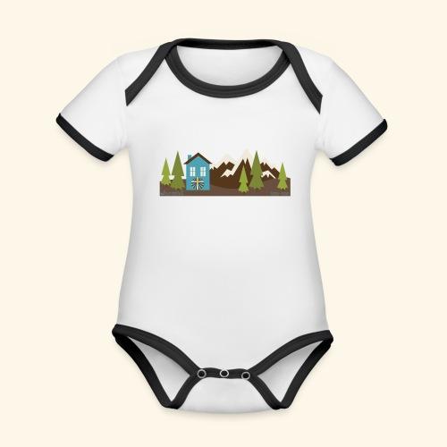 casettaAC - Body da neonato a manica corta, ecologico e in contrasto cromatico