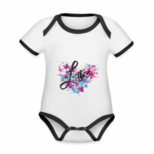 Love with Heart - Organic Baby Contrasting Bodysuit