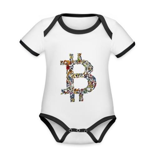 BITCOIN logo color - Baby contrasterend bio-rompertje met korte mouwen