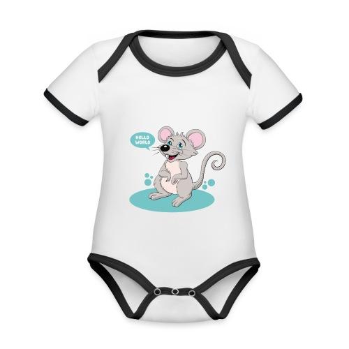 Kleine Maus als Geschenk zur Geburt - Baby Bio-Kurzarm-Kontrastbody