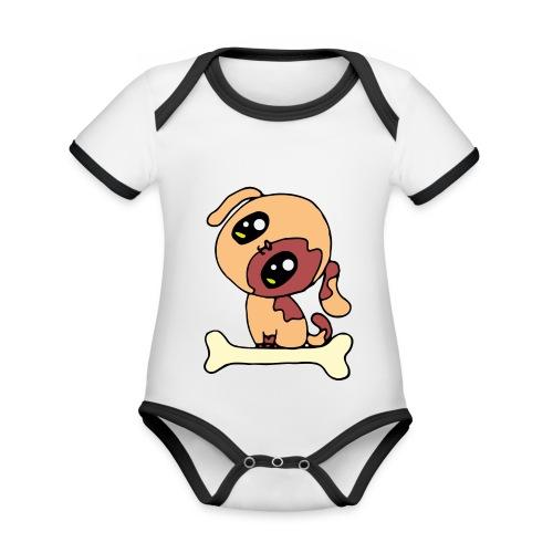 Kawaii le chien mignon - Body Bébé bio contrasté manches courtes