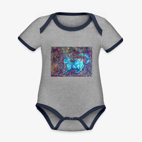 Kotek - Ekologiczne body niemowlęce z krótkim rękawem i kontrastowymi lamówkami