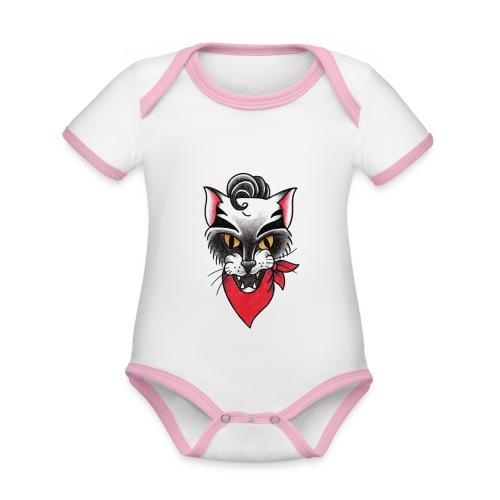 Rockabillycat - Body da neonato a manica corta, ecologico e in contrasto cromatico
