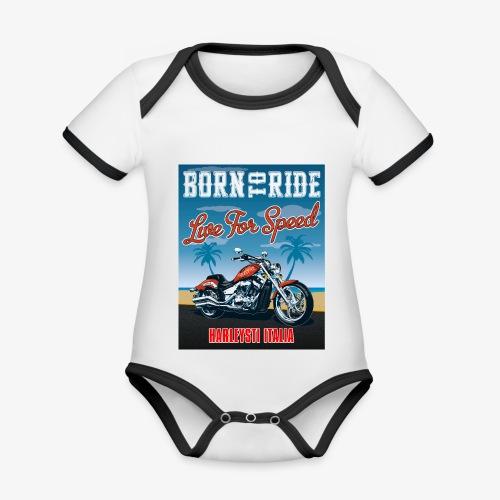 Summer 2021 - Born to ride - Body da neonato a manica corta, ecologico e in contrasto cromatico