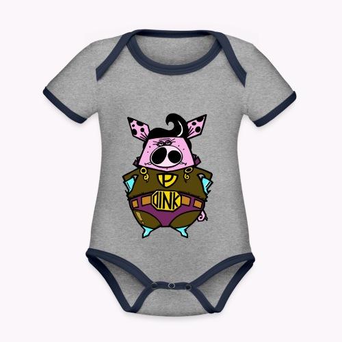 super oink col - Body da neonato a manica corta, ecologico e in contrasto cromatico