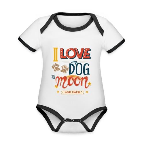 Moon Dog Light - Ekologisk kontrastfärgad kortärmad babybody