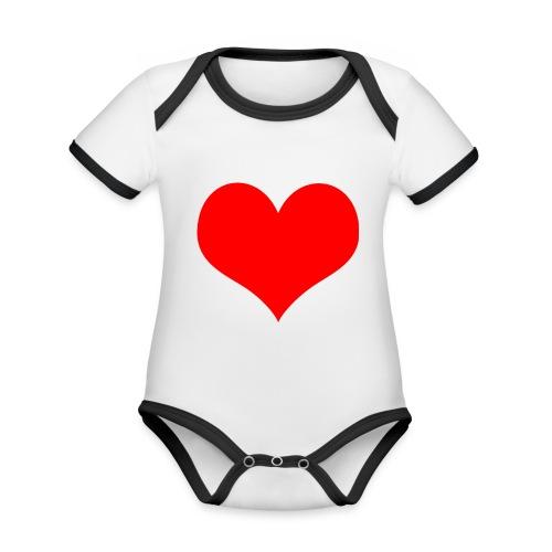 rotes Herz - Baby Bio-Kurzarm-Kontrastbody