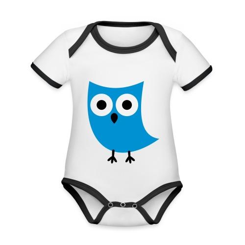 Uiltje - Baby contrasterend bio-rompertje met korte mouwen