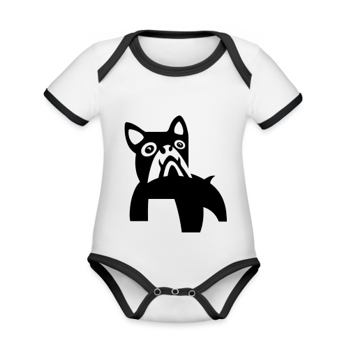 MadDog_kunst mit hund.eps - Baby Bio-Kurzarm-Kontrastbody