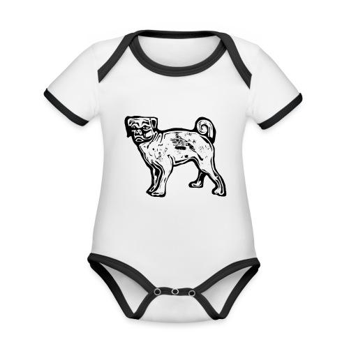 Pug Dog - Organic Baby Contrasting Bodysuit