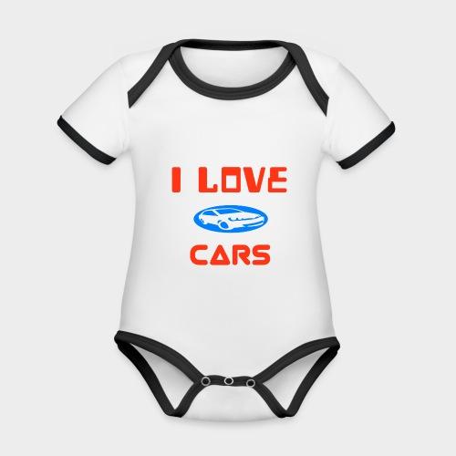 I Love cars - Organic Baby Contrasting Bodysuit