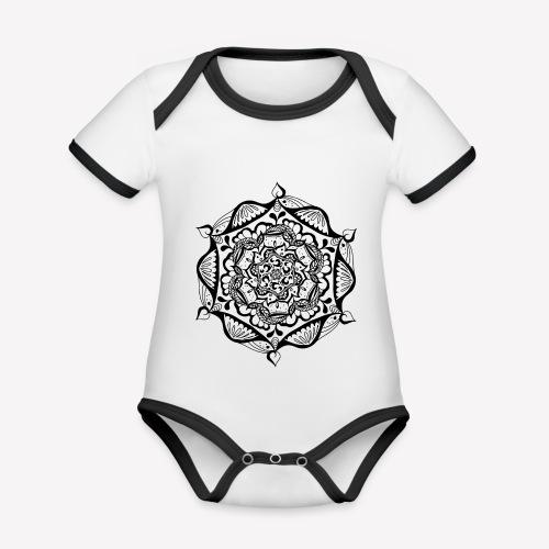Mandala Flower - Baby Bio-Kurzarm-Kontrastbody