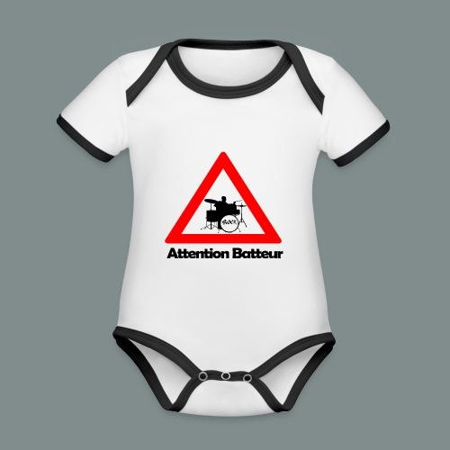 Attention batteur - Body Bébé bio contrasté manches courtes