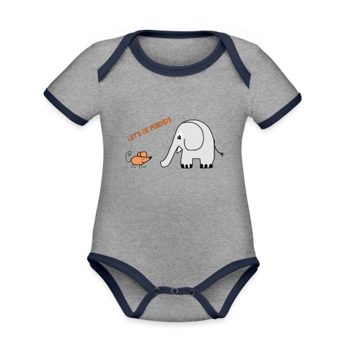 Elephant and mouse, friends - Organic Baby Contrasting Bodysuit