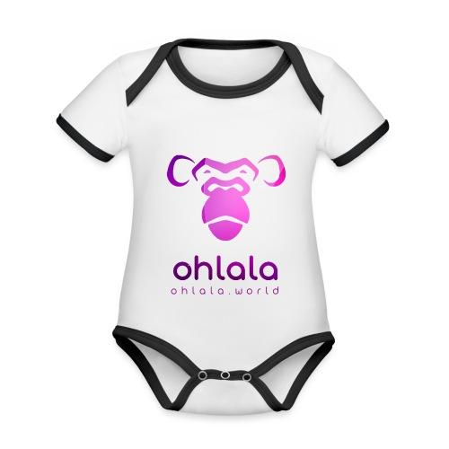 Ohlala PURPLE - Body Bébé bio contrasté manches courtes