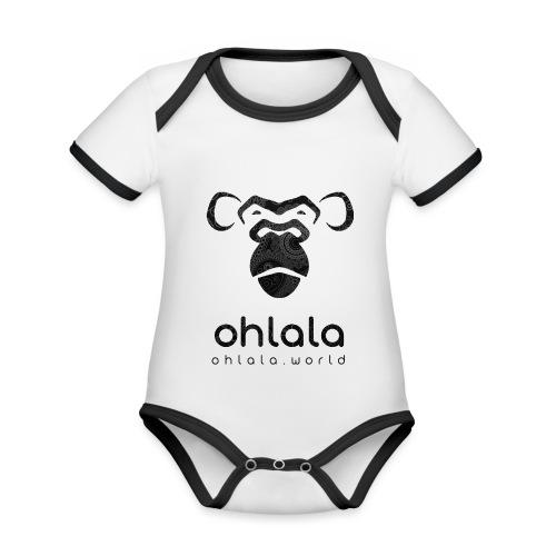 Ohlala Retro BLACK - Body Bébé bio contrasté manches courtes
