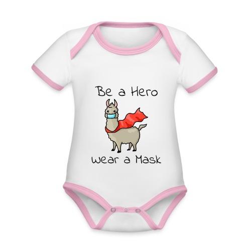 Sei ein Held, trag eine Maske! - Baby Bio-Kurzarm-Kontrastbody
