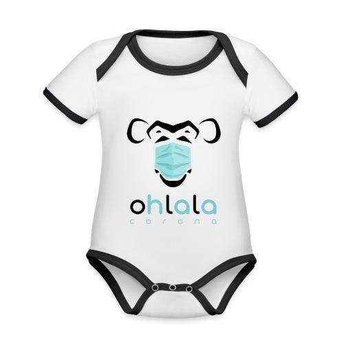 OHLALA CORONA WHITE - Body Bébé bio contrasté manches courtes