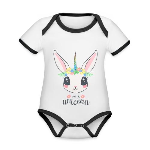 I am Unicorn - Baby Bio-Kurzarm-Kontrastbody