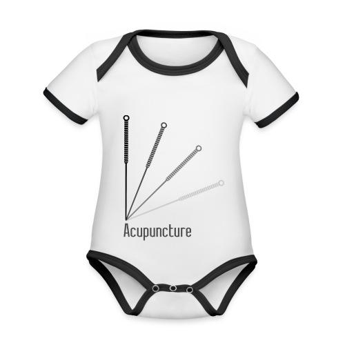Acupuncture Eventail (logo noir) - Body Bébé bio contrasté manches courtes
