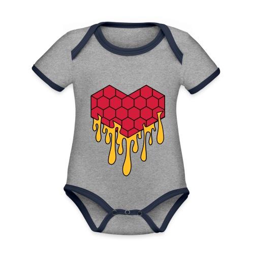 Honey heart cuore miele radeo - Body da neonato a manica corta, ecologico e in contrasto cromatico