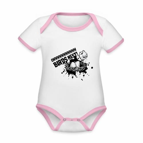 Birds Nest With Bird - Organic Baby Contrasting Bodysuit