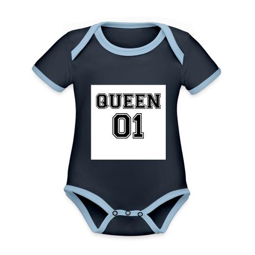 Queen 01 - Body Bébé bio contrasté manches courtes