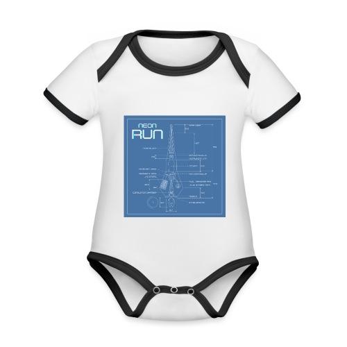 NeonRun blueprint - Baby contrasterend bio-rompertje met korte mouwen