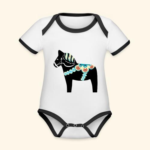 Svart dalahäst - Ekologisk kontrastfärgad kortärmad babybody