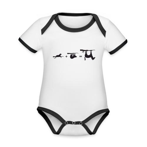 Lui paard Formule Luipaar - Baby contrasterend bio-rompertje met korte mouwen