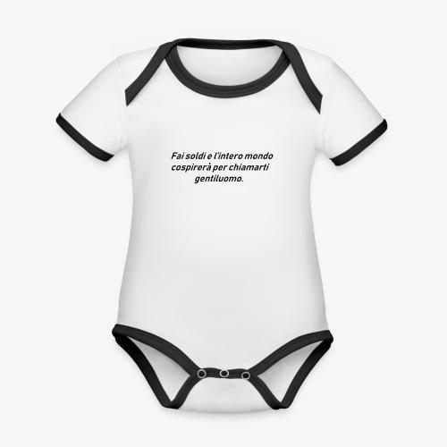 RICCHEZZA - Body da neonato a manica corta, ecologico e in contrasto cromatico