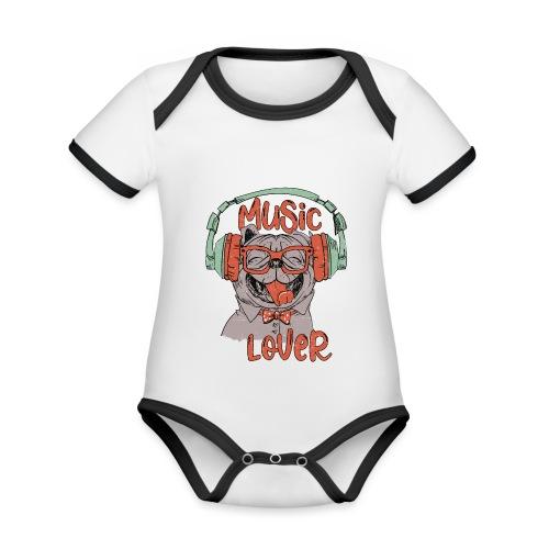 Music Lover - Happy Pug Dog Head Vintage style - Organic Baby Contrasting Bodysuit