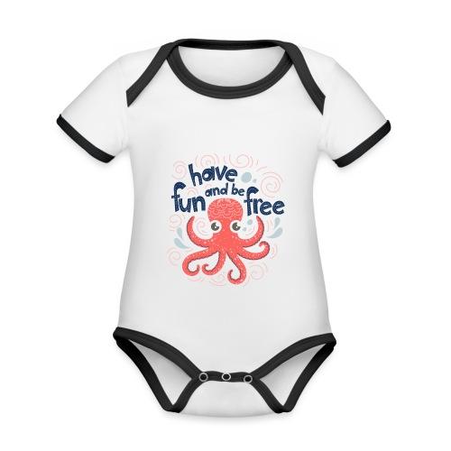 HaveFunAndBeFree - Body Bébé bio contrasté manches courtes