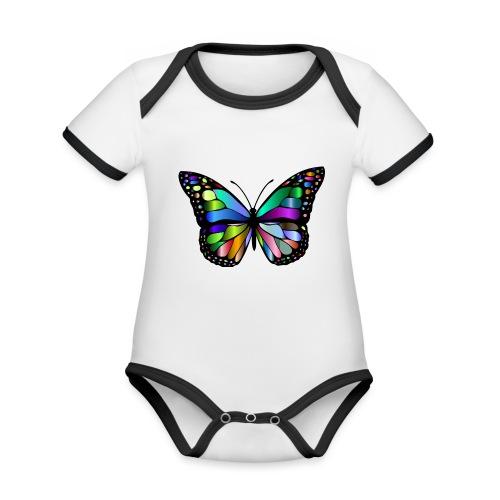 Kolorwy Motyl - Ekologiczne body niemowlęce z krótkim rękawem i kontrastowymi lamówkami