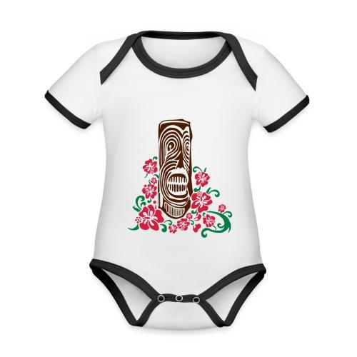 Tiki Totem with Hibiscus Flowers - Organic Baby Contrasting Bodysuit