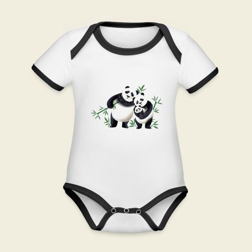 Pandafamilie Baby - Baby Bio-Kurzarm-Kontrastbody