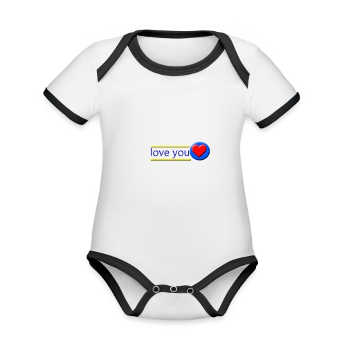 love you - Organic Baby Contrasting Bodysuit